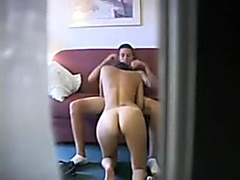 Hidden web camera at the right place to film my playgirl sucking my 10-Pounder