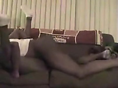 Unfathomable inside his darksome girlfriend with her legs pinned back