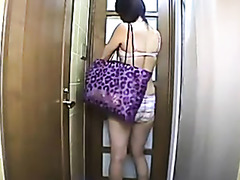 Asian hottie gets tidy and clean