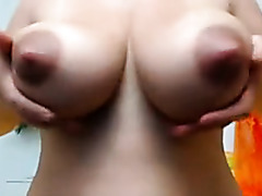 Natural lactating pair with great pink nips on this Milf