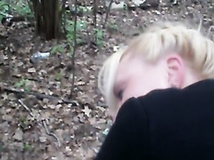 Cumshot on butt in the forest