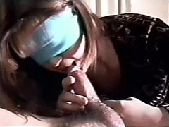 Blindfolded oriental girlfriend hirsute cum-hole pov