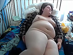 Disgusting chubby wench ardently masturbates on webcam