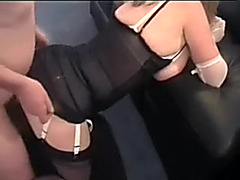 I drill one dirty slut and sperm on her black lingerie