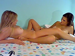 Hot lesbian screwing with two bitches