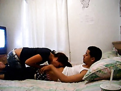 Latino couple testing out the fresh camera