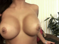 This hot latina brunette has a perfect pair of big natural tits, as you would expect from such a hottie. She loves to tease with them as much as she c